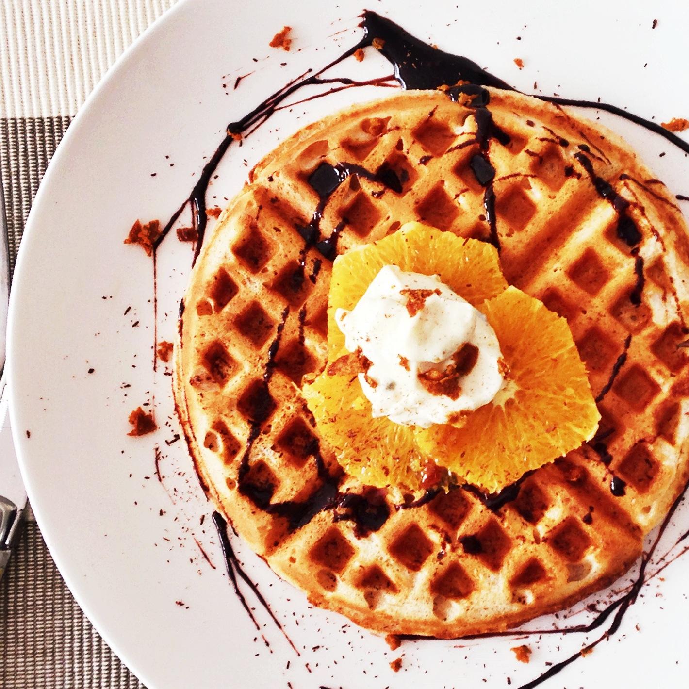 Vanilla waffle with orange, shaved coconut sugar, organic plain ...